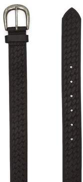 Topman Mens Slim Leather Belt with Embossed Pattern and Brushed Silver Buckle in Black