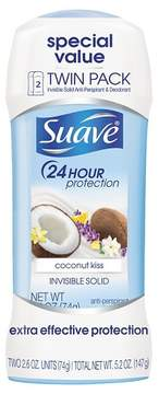 Suave Coconut Kiss Invisible Solid Antiperspirant Deodorant 2.6 oz, Twin Pack