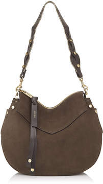 Jimmy Choo ARTIE Paloma Suede Shoulder Bag with Embellished Handle