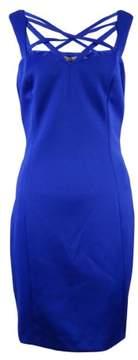 GUESS Women's Criss Cross Scuba Sheath Dress (6, Indigo)