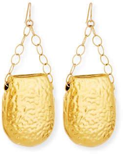 Devon Leigh Earrings-Hammered Gold Half