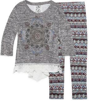 Knitworks Knit Works Graphic Long Sleeve Crochet Detail Legging Set- Girls' 7-16 & Plus
