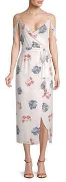 ABS by Allen Schwartz Printed Cold-Shoulder Midi Dress