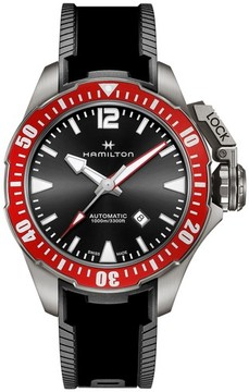 Hamilton Men's Khaki Navy Frogman Automatic Silicone Strap Watch, 46Mm