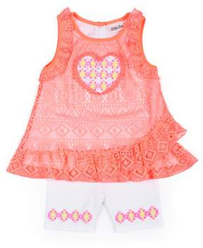 Little Lass Baby Girl Lace Tank Top & Tribal Bike Shorts Set