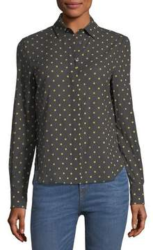 Brock Collection Baylee Long-Sleeve Button-Front Dot-Print Voile Shirt