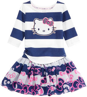 Hello Kitty 2-Pc. Striped Top & Bow-Print Striped Skirt Set, Baby Girls