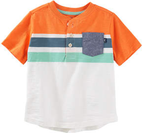 Osh Kosh Toddler Boy Striped Chambray Pocket Henley