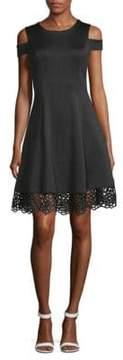 Donna Ricco Lace Cold-Shoulder Fit-&-Flare Dress
