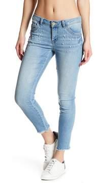 Democracy Embellished Pearl Seamless Hem Skinny Jeans