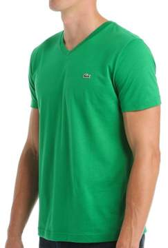 Lacoste TH6604-51 100% Pima Cotton V-Neck Short Sleeve T-Shirt (Chlorophylle Green 3XL)