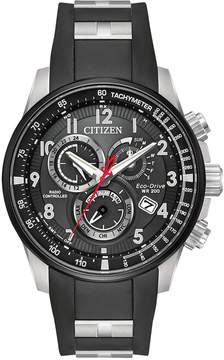 Citizen Eco-Drive Men's Chronograph Promaster Chrono-at Black Polyurethane & Stainless Steel Combination Bracelet/Strap Watch 44mm