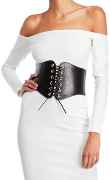 Missguided Faux Leather Lace-Up Corset Belt
