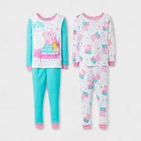Peppa Pig Toddler Girls' 4pc Cotton Pajama Set - Pink/Turquoise
