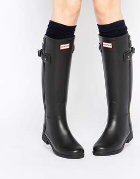 Hunter Refined Back Strap Black Wellington Boots