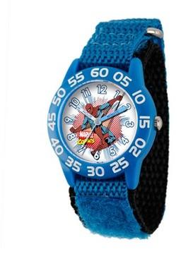 Spiderman Marvel Boys' Plastic Case Watch, Blue Nylon Strap