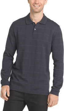 Van Heusen Long Sleeve Grid Melange Polo Shirt Big and Tall