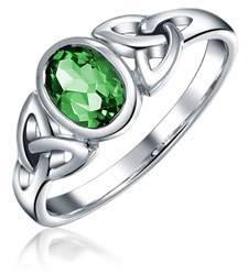 Celtic Bling Jewelry Simulated Emerald Glass Knot Triquetra Sterling Silver Ring.