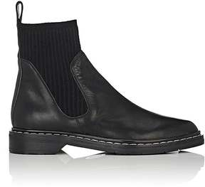 The Row Women's Fara Leather & Knit Ankle Boots