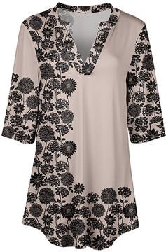 Azalea Cream & Black Floral V-Neck Tunic - Women & Plus