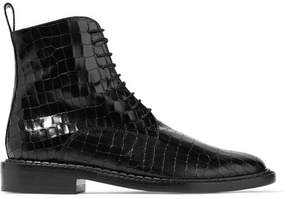 Robert Clergerie Jacenc Croc-effect Glossed-leather Ankle Boots - Black