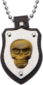 JCPenney FINE JEWELRY Inox Jewelry Mens Genuine Tiger's Eye Skull Shield Pendant