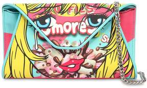 Moschino Eyes Faux Leather Clutch