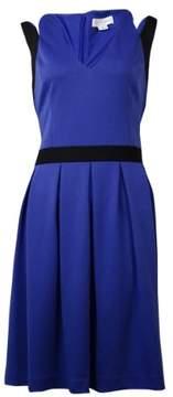 Jessica Simpson Women's Fit Flare V-Necked Dress (10, Blue/Black)