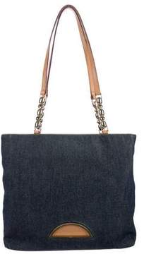 Christian Dior Leather-Trimmed Denim Tote