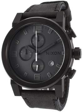 Nixon Men's Ride Chronograph Black Horween Leather and Dial