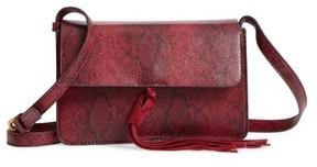 Street Level Snake Embossed Faux Leather Crossbody Bag - Burgundy