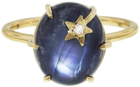 Andrea Fohrman Moonstone Mini Star Ring - Yellow Gold