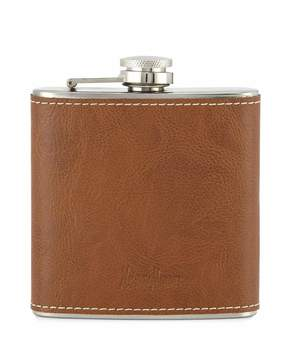 Neiman Marcus Leather Stainless Steel Flask, Beige