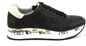 Premiata Conny In Black Grained Leather Sneaker