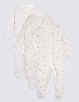 Marks and Spencer 3 Pack Unisex Pure Cotton Sleepsuits