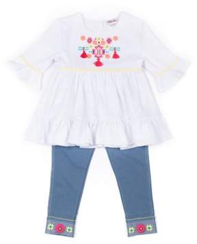 Little Lass Little Girls' 4-6X Aztec Gauze Top and Knit Denim Capri Legging 2-Piece Set