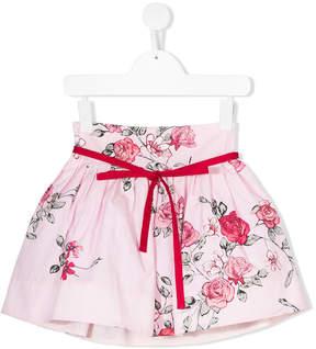 Simonetta rose print flared skirt