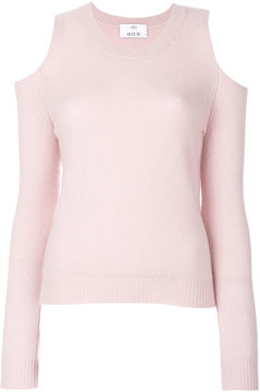 Allude cold shoulder knitted top