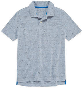 Arizona Short Sleeve Solid Textured Polo Shirt -Boys 4-20