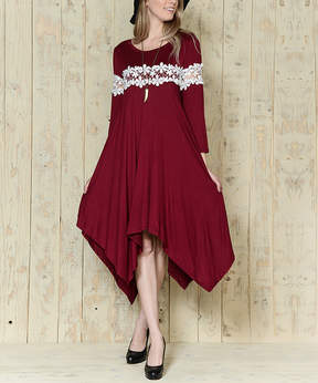 Celeste Red Floral-Accent Handkerchief-Hem Tunic - Plus
