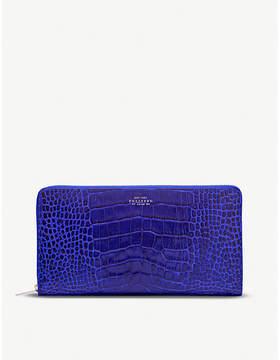 Smythson Mara crocodile-embossed leather travel wallet