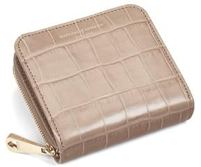 Aspinal of London Mini Continental Zipped Coin Purse In Deep Shine Soft Taupe Croc