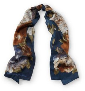 Ralph Lauren Florina Floral Silk Scarf Navy One Size