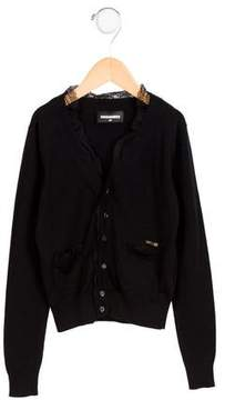 DSQUARED2 Girls' Lace-Trimmed Long Sleeve Cardigan
