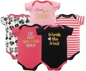 Luvable Friends Black & Pink 'Sparkle' Basic Bodysuits - Set of Five