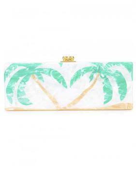 Edie Parker Flavia palm trees print clutch bag