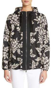 Moncler Water Resistant Floral Print Hooded Jacket