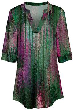 Azalea Green & Pink Abstract V-Neck Tunic - Women & Plus