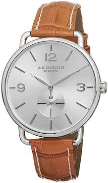 Akribos XXIV Essential Silver Dial Tan Leather Ladies Watch