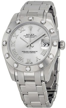 Rolex Oyster Perpetual Datejust Rhodium Dial 18k White Gold Pearlmaster Automatic Ladies Watch